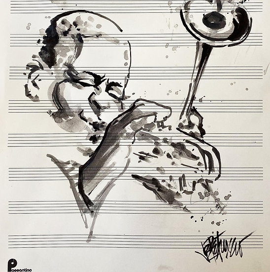 24 DIZZY Original Ink on Paper by Joe Petruccio - Dizzy Gillespie