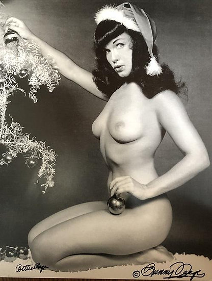 Bettie Page Autographed Bunny Yeager 11x14 1955 Playboy Christmas Tree Photo