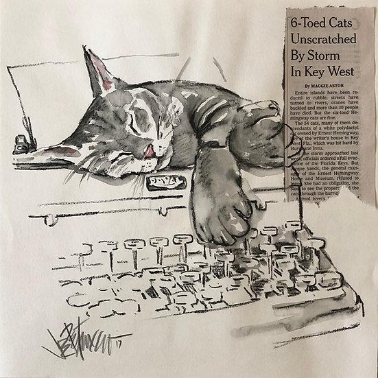 SURVIVOR Hemingway Cat Original Watercolor on Paper by Joe Petruccio