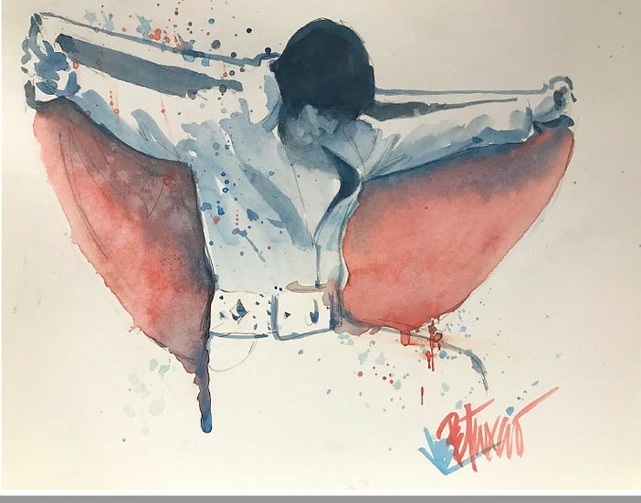 Elvis Presley - RED WHITE and ELVIS Original Watercolor on Paper