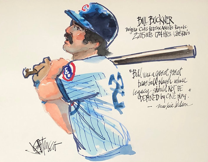 A GREAT BASEBALL PLAYER Bill Buckner Original Art by Joe Petruccio
