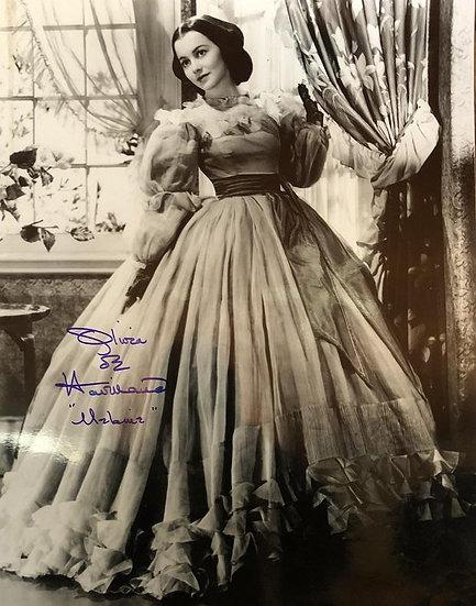 Olivia de Havilland Autographed 11x14 Gone With The Wind Plunkett Dress Photo