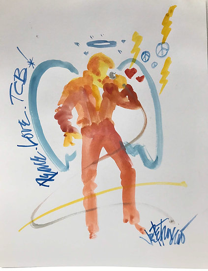 Elvis Presley - PEACE LOVE TCB Original Watercolor Rock Angel