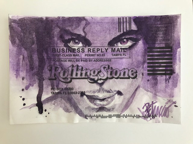 Prince - a Tribute Original Fine Art Watercolor on Subscription Card