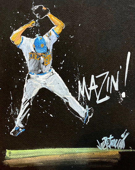 AMAZING! Jeurys Familia NY METS Original Art by Joe Petruccio