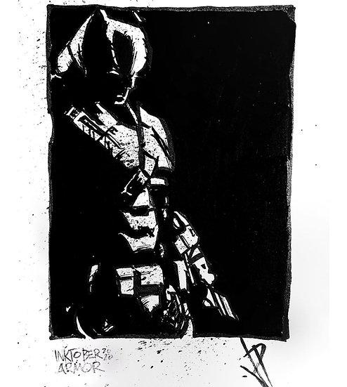 14 ARMOR Original Ink on Paper by Joe Petruccio DARK KNIGHT BATMAN