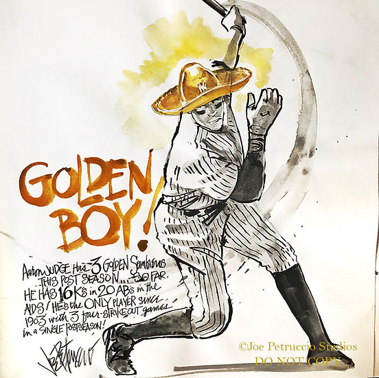 GOLDEN BOY Aaron Judge Original NY Yankees Watercolor by Joe Petruccio