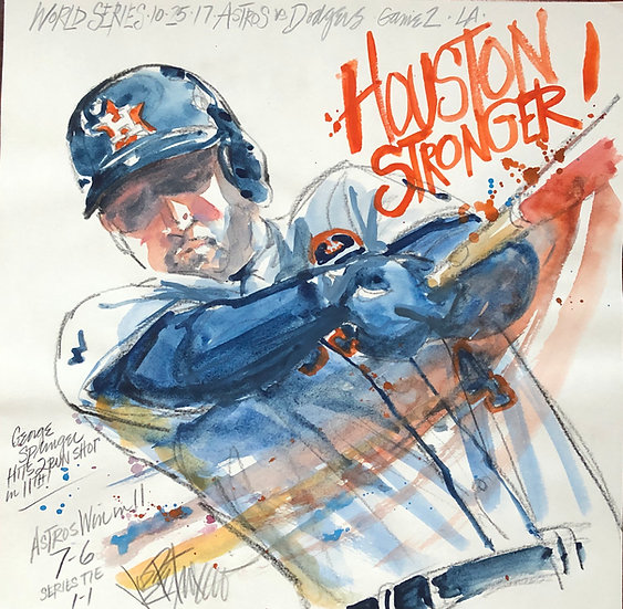 HOUSTON STRONGER! Astros George Springer Original Watercolor by Joe Petruccio