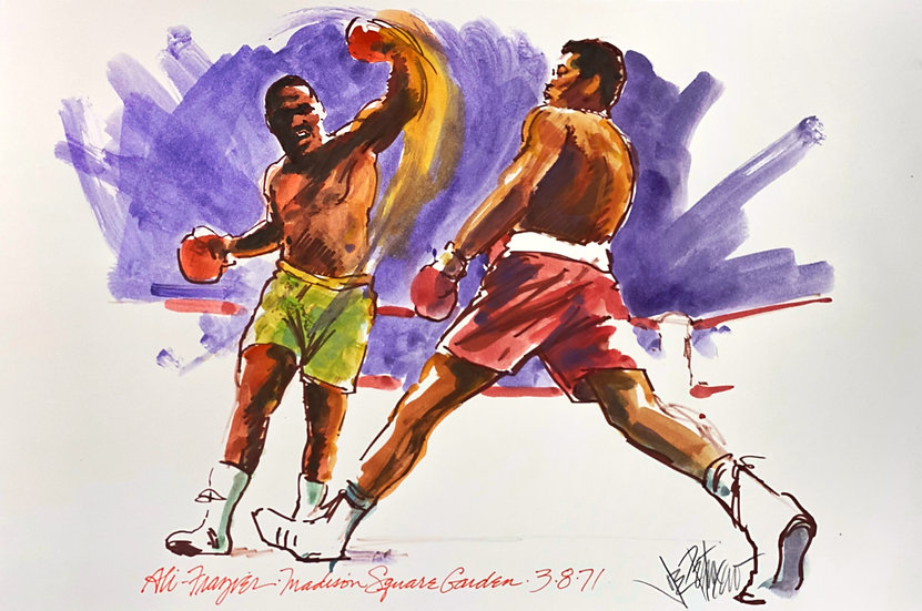 SWING AND A MISS Ali Frazier Fight of the Century Original by Joe Petruccio