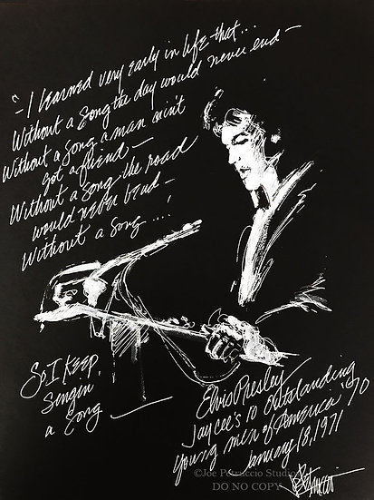Elvis Presley - WITHOUT A SONG Original Ink on Paper by Joe Petruccio