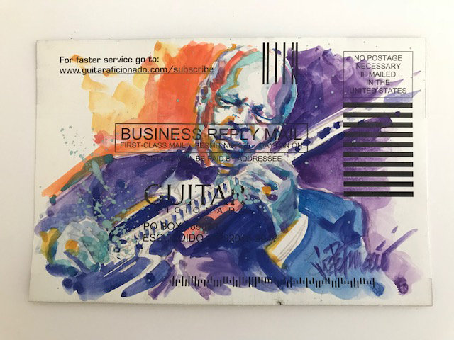 BB King - a Tribute Original Watercolor on Subscription Card