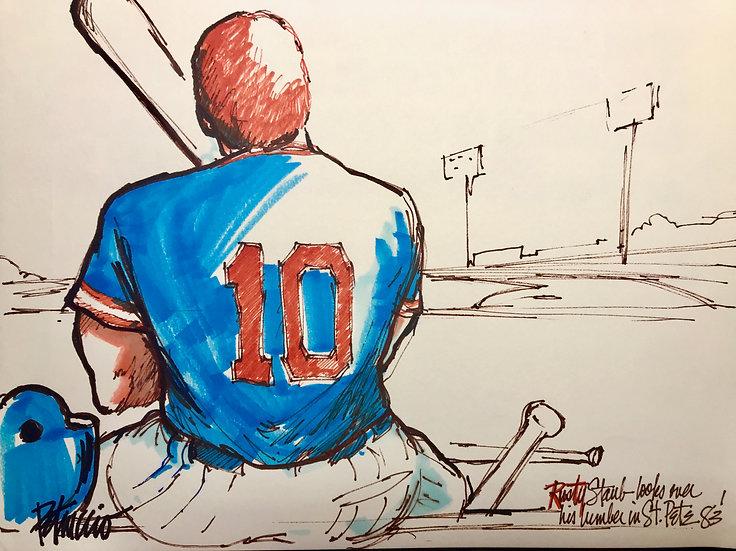 ST PETE 83 Rusty Staub METS Original Watercolor by Joe Petruccio