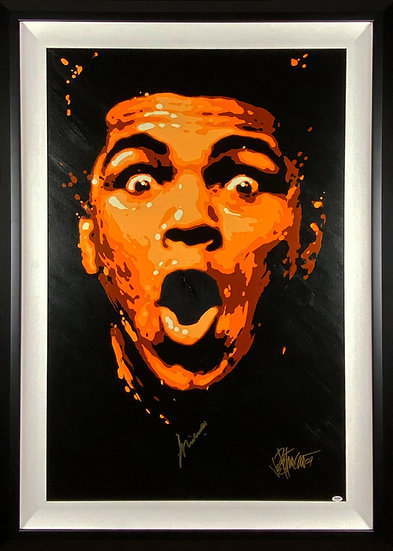 Muhammad Ali Autographed I AM THE GREATEST Mixed Media Original by Joe Petruccio