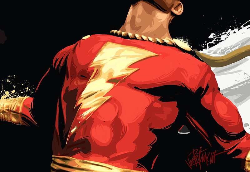 CAPTAIN MARVEL - SHAZAM Mixed Media Original Fine Art by Joe Petruccio