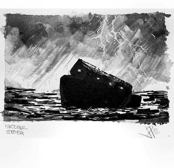 17 STORM Original Ink on Paper by Joe Petruccio NOAH'S ARK