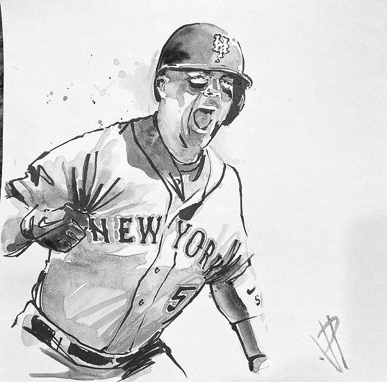 WRIGHT ON! David Wright Original NY METS Art by Joe Petruccio
