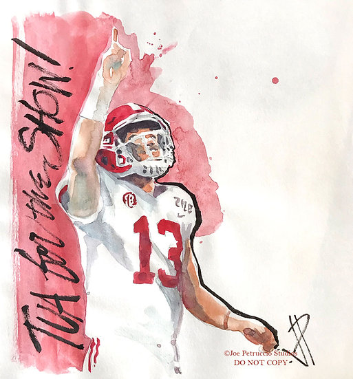TUA FOR THE SHOW Crimson Tide Original Watercolor by Joe Petruccio