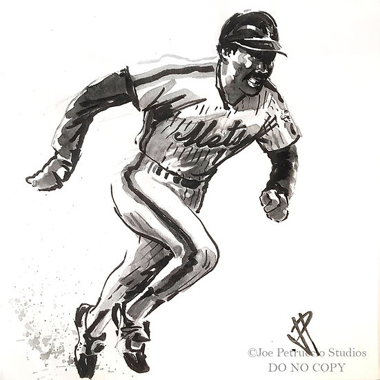 MOOKIE New York METS Original Watercolor by Joe Petruccio