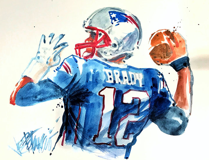 I'VE GOT YOUR NUMBER Tom Brady Patriots Original Watercolor by Joe Petruccio