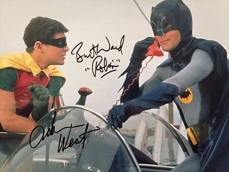 Adam West and Burt Ward Autographed Batman 11x14 Bat Phone Photo