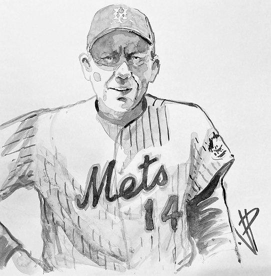 GIL Original Watercolor NY METS Gil Hodges by Joe Petruccio