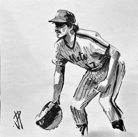 KEITH HERNANDEZ Original Watercolor NY METS Art by Joe Petruccio