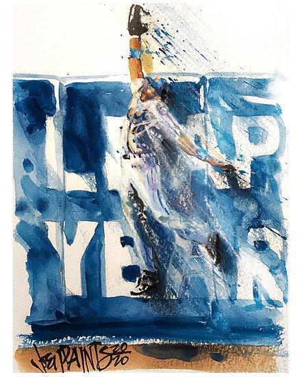 ENDY'S LEAP Original Watercolor NY METS Endy Chavez by Joe Petruccio