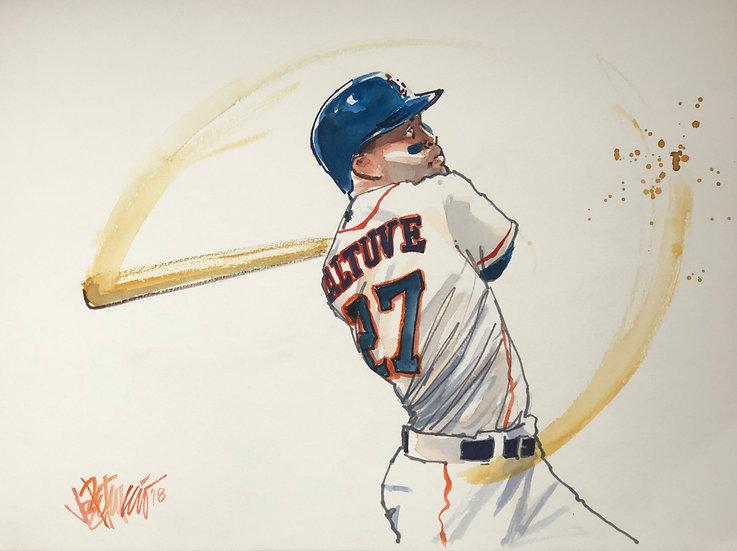 ALTUVE Jose Altuve Houston Astros Original Watercolor by Joe Petruccio