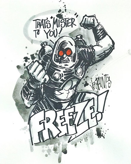 04 FREEZE Original Ink on Paper by Joe Petruccio - Mr Freeze
