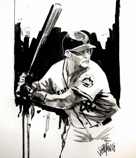 06 HUSKY Original Ink on Paper by Joe Petruccio - METS Butch Huskey