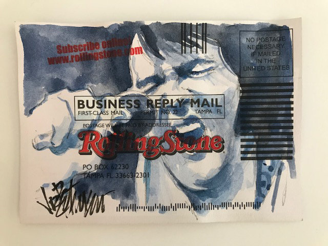 Elvis Presley - RETURN TO SENDER Original Watercolor on Subscription Card
