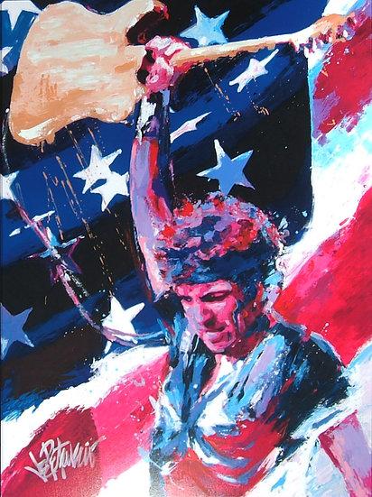 RED WHITE & BRUCE Springsteen Mixed-Media Original Fine Art by Joe Petruccio