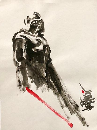 Darth Vader THE SAMURAI Star Wars Original Watercolor on Paper