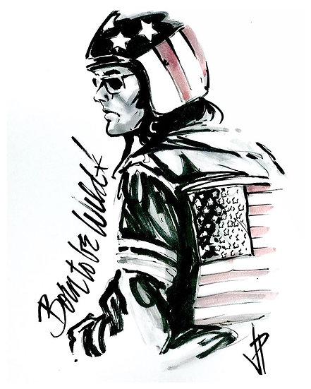 16 WILD Original Ink on Paper by Joe Petruccio - Easy Rider