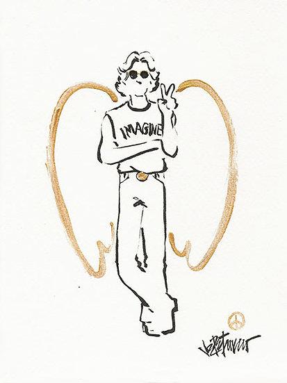 ROCK ANGEL of PEACE Original Drawing by Joe Petruccio