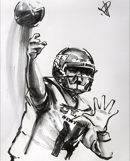 19 SLING Original Ink on Paper by Joe Petruccio - Sam Darnold NY Jets