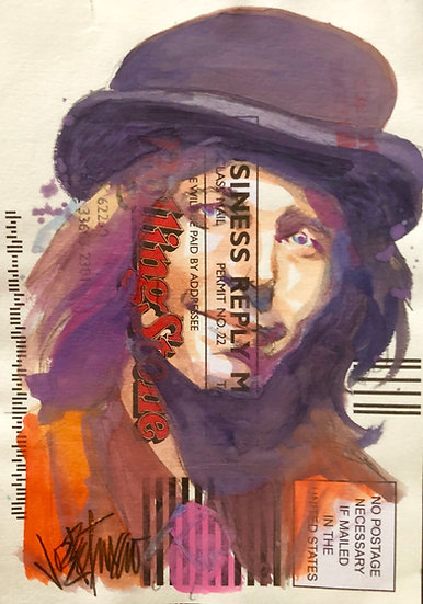 Tom Petty - a Tribute Original Watercolor on Subscription Card