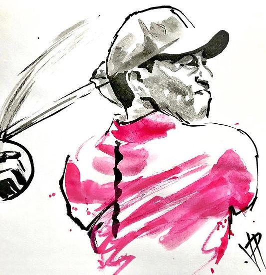 Tiger Woods COMEBACK Original Fine Art Watercolor by Joe Petruccio