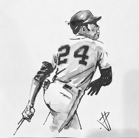 SAY HEY KID Willie Mays Original Watercolor by Joe Petruccio