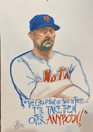 MICKEY CALLAWAY New York METS Original SNYTV Art by Joe Petruccio