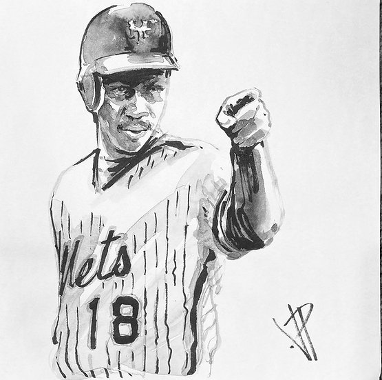 MAKES A POINT Darryl Strawberry Original NY METS Art by Joe Petruccio