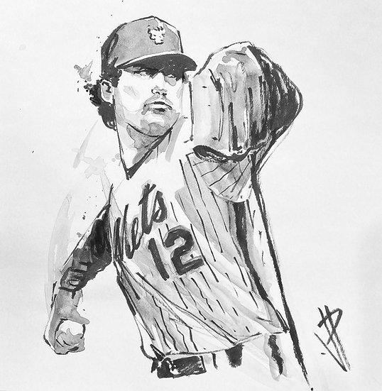 DARLING Original Watercolor NY METS Ron Darling by Joe Petruccio