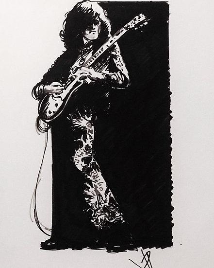 12 DRAGON Original Ink on Paper by Joe Petruccio - Jimmy Page