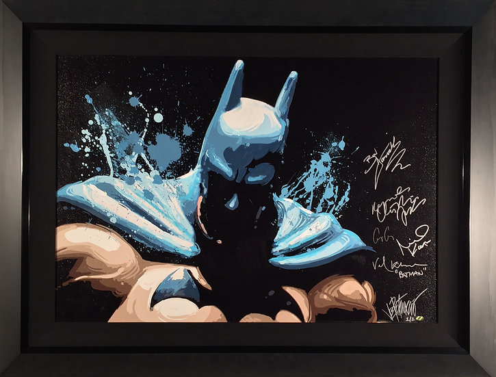 THE CAPED CRUSADER Joe Petruccio Mixed-Media Original Signed by 5 Batmen