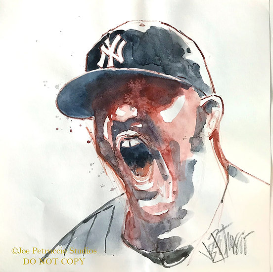 HEAR ME ROAR CC Sabathia Yankees Original Watercolor by Joe Petruccio