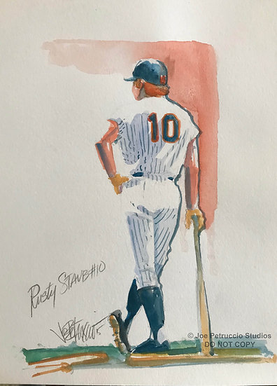 NATIONAL RED HEAD DAY METS Original Watercolor by Joe Petruccio