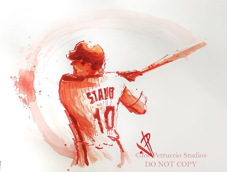 RED STORM Rusty Staub NY METS Original Watercolor by Joe Petruccio