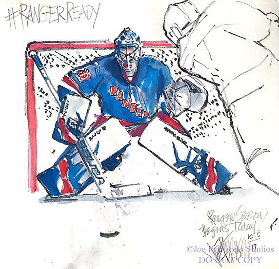 RANGER READY Henrik Lundqvist Original NY Rangers Art by Joe Petruccio