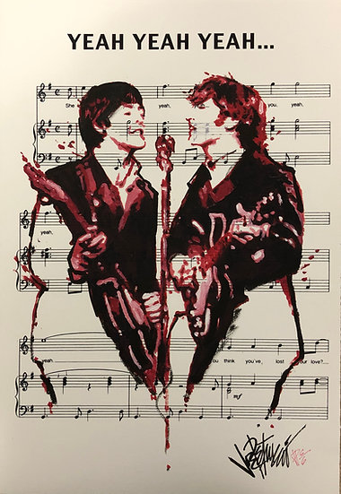 Beatles - YEAH YEAH YEAH Artist Proof Sheet Music by Joe Petruccio