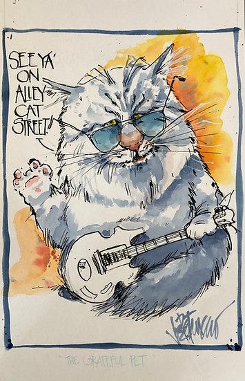 THE GRATEFUL PET Original Jerry Garcia Watercolor by Joe Petruccio
